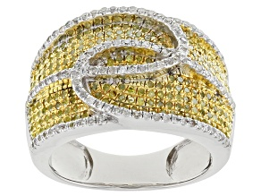 Yellow And White Diamond Sterling Silver Ring 1.00ctw