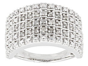 Diamond Rhodium Over Sterling Silver Band Ring .25ctw