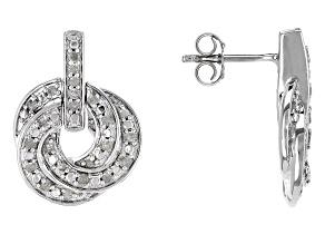 Diamond Sterling Silver Earrings .50ctw