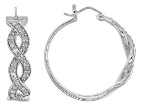 Diamond Silver Hoop Earrings .51ctw