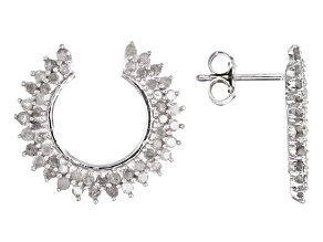 Diamond Silver Earrings 1.2ctw