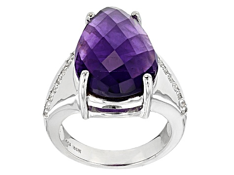 Purple Amethyst Sterling Silver Ring 8.22ctw