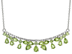 Green Peridot Sterling Silver Necklace 10.36ctw