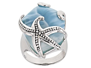 Blue Larimar Rhodium Over Sterling Silver Starfish Ring