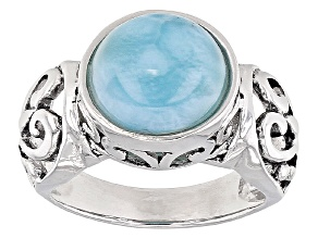 Blue Larimar Sterling Silver Solitaire Ring
