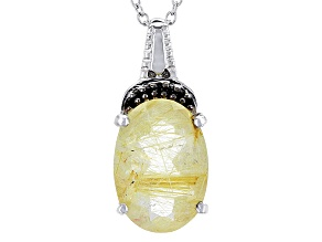 Yellow Rutilated Quartz Silver Pendant With Chain 3.78ctw