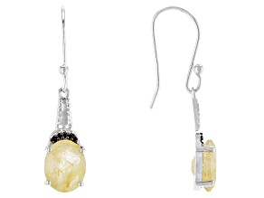 Yellow Rutilated Quartz Silver Dangle Earrings 3.43ctw