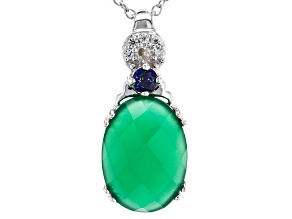 Green Onyx Sterling Silver Pendant With Chain 3.87ctw