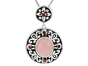 Pink Peruvian Opal Sterling Silver Pendant With Chain .29ctw