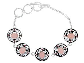 Pink Peruvian Opal Sterling Silver Bracelet .34ctw