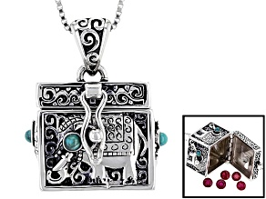 Blue Turquoise and Mahaleo Ruby Sterling Silver Prayer Box Pendant With Chain