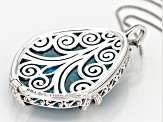Blue Turquoise Sterling Silver Solitaire Pendant With Chain