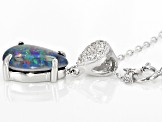 Multicolor Australian Opal Triplet Sterling Silver Pendant With Chain .11ctw