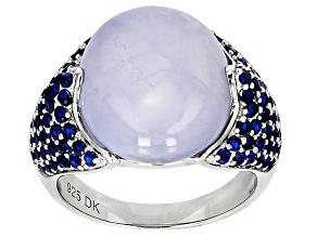 Blue Chalcedony Sterling Silver Ring .07ctw