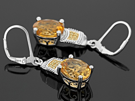 Yellow Citrine Sterling Silver Dangle Earrings 5.85ctw