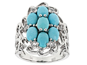 Blue Sleeping Beauty Turquoise Sterling Silver Ring .20ctw