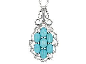 Blue Sleeping Beauty Turquoise Rhodium Over Sterling Silver Pendant With Chain .20ctw