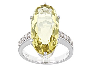 Canary Yellow Quartz Sterling Silver Ring 9.18ctw