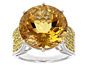 Yellow Citrine Sterling Silver Ring 12.46ctw