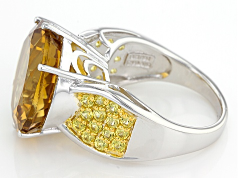 Yellow Citrine Rhodium Over Sterling Silver Ring 12.46ctw