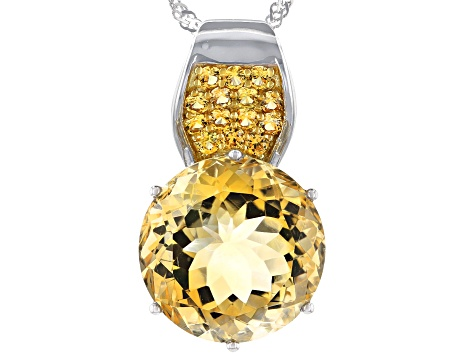 Yellow Citrine Rhodium Over Sterling Silver Pendant With Chain 11.77ctw