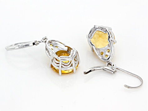 Yellow Citrine Sterling Silver Dangle Earrings 5.83ctw
