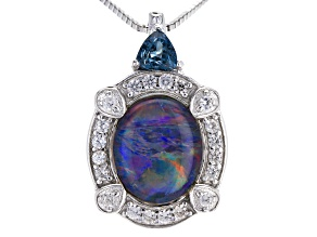 Australian Opal Triplet Sterling Silver Pendant With Chain .77ctw