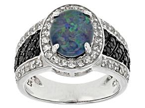 Australian Opal Triplet Sterling Silver Ring 1.22ctw