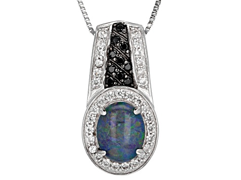 Australian Opal Triplet Sterling Silver Pendant With Chain .83ctw