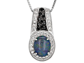 Multi-color Australian Opal Triplet Sterling Silver Pendant With Chain .83ctw