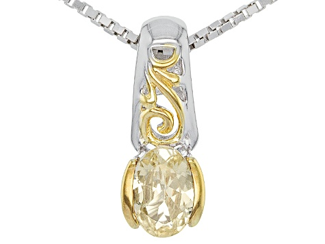 Golden Grossular Garnet Two-Tone Silver Pendant With Chain .39ct