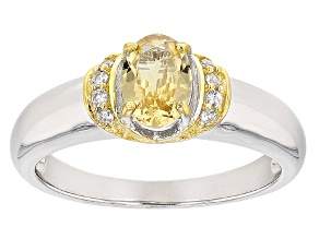 Golden Grossular Garnet Sterling Silver Two Tone Ring .70ctw