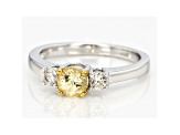 Golden Grossular Garnet Sterling Silver 3-Stone Ring .63ctw