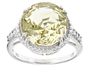 Canary Yellow Quartz Sterling Silver Ring 4.27ctw