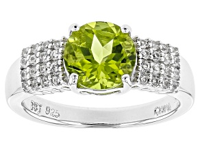 Green Peridot Sterling Silver Ring 2.19ct