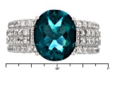 Teal Fluorite Sterling Silver Ring 6.42ctw