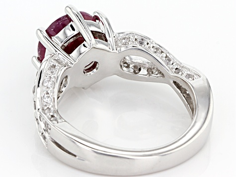Red indian Ruby Sterling Silver Ring 2.72ctw