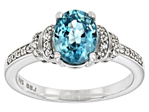 Blue Zircon Sterling Silver Ring 2.52ctw