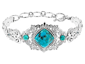 Blue Turquoise Sterling Silver Bracelet .30ctw