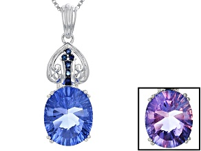 Blue Color Change Fluorite Sterling Silver Pendant With Chain 4.59ctw