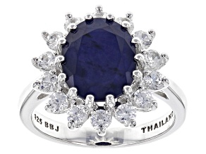 Blue Sapphire Sterling Silver Ring 4.91ctw