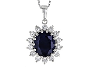 Blue Sapphire Sterling Silver Pendant With Chain 4.92ctw
