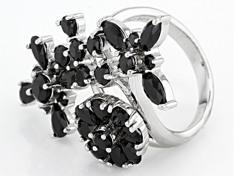 Black Spinel Sterling Silver Floral Ring 3.52ctw