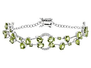 Green Peridot Sterling Silver Bracelet 11.99ctw