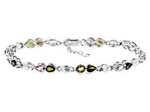 Multi-Tourmaline Sterling Silver Bracelet 4.62ctw