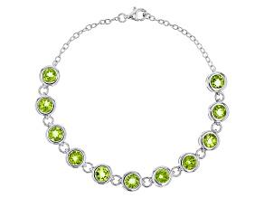 Green Peridot Sterling Silver Bracelet 8.31ctw