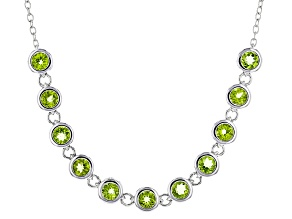 Green Peridot Sterling Silver Necklace 8.31ctw