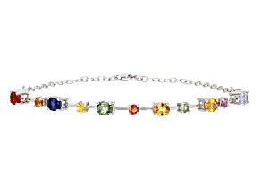 Multicolor Sapphire Sterling Silver Bracelet 3.16ctw