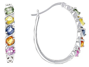 Multi-Sapphire Sterling Silver Hoop Earrings 1.95ctw