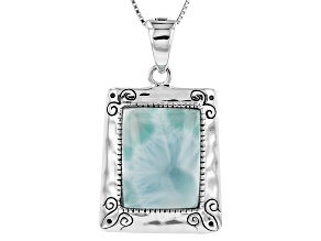 Blue Larimar Sterling Silver Solitaire Enchancer With Chain